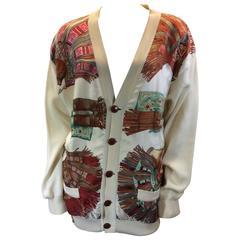 Hermes Vintage White Knit and Silk Print Cardigan