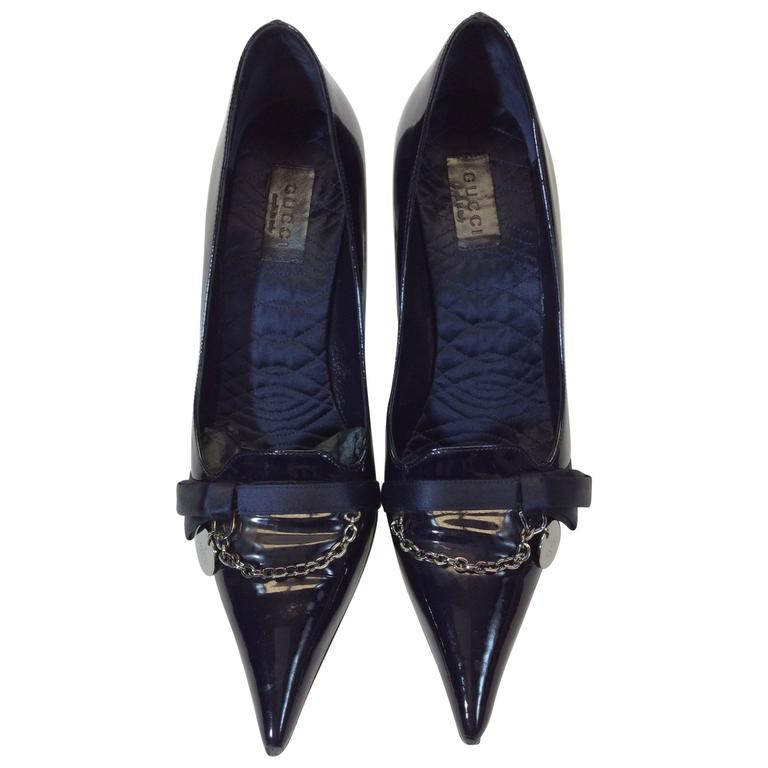 Gucci Navy Patent Leather Pump For Sale