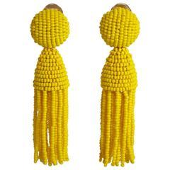 Oscar de la Renta Yellow Short Beaded Tassel Earrings