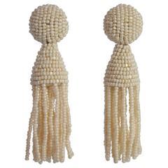 Oscar de la Renta Ivory Short Beaded Tassel Earrings