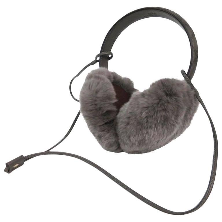 Gucci NEW Monogram Logo Fur Men's Women's Unisex Ear Muffs in Box For Sale