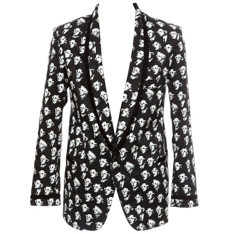 Jeremy Scott Men's Black Cotton Lycra 3-D Movie Sports Jacket For Sale