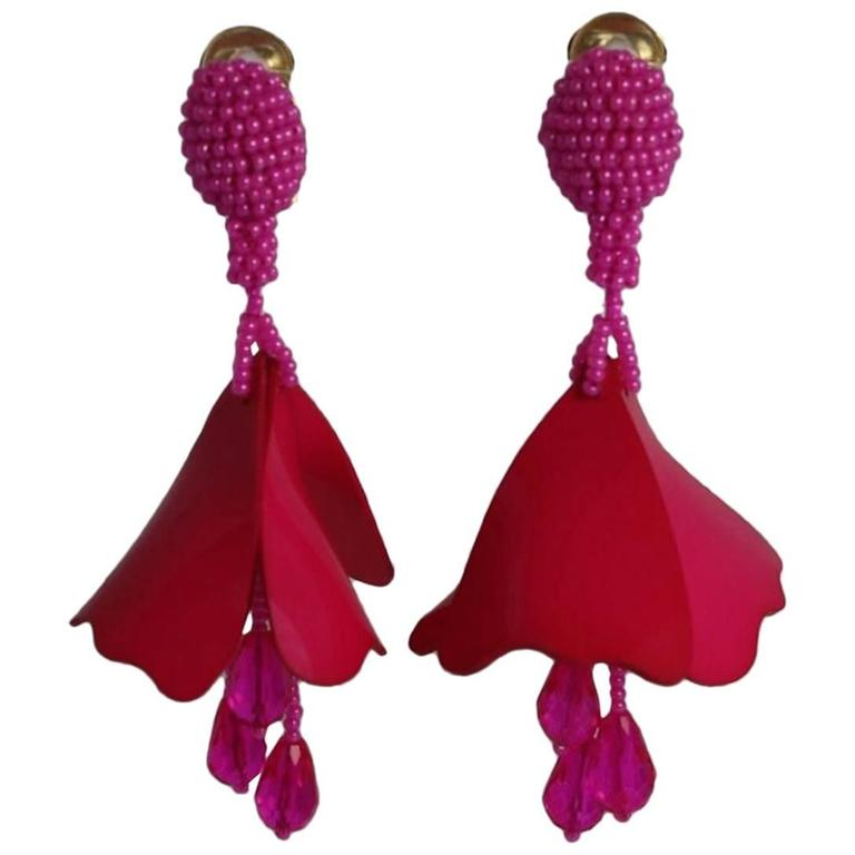 Falling clip-on earrings Oscar De La Renta TmTvQnzee9