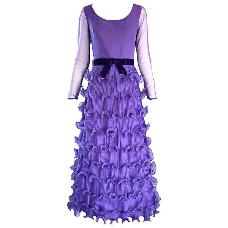 Chic 1970s ELLIETTE LEWIS Lavender Purple Chiffon Long Sleeve Regal Maxi Dress