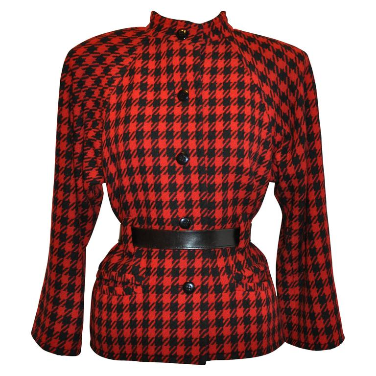 Yves Saint Laurent Black & Red Checkered Jacket For Sale