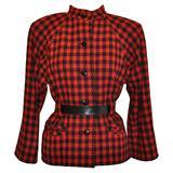 Yves Saint Laurent Black & Red Checkered Jacket