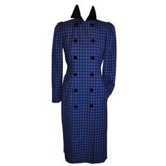 Oscar de la Renta Navy & Black Checkered Double Breasted Dress