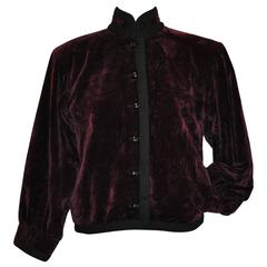 "Yves Saint Laurent Iconic ""Russian"" Collection Maroon Crushed Velvet Jacket"