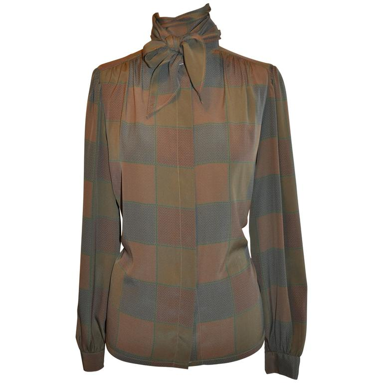 "Multi ""Olive"" Silk Wide-Collar Tie Button Blouse"