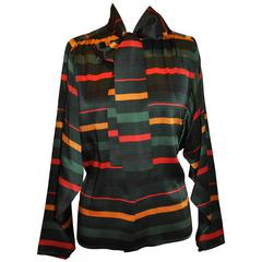 Multi-Color Silk Stripe Extended Collar Tie Button Blouse