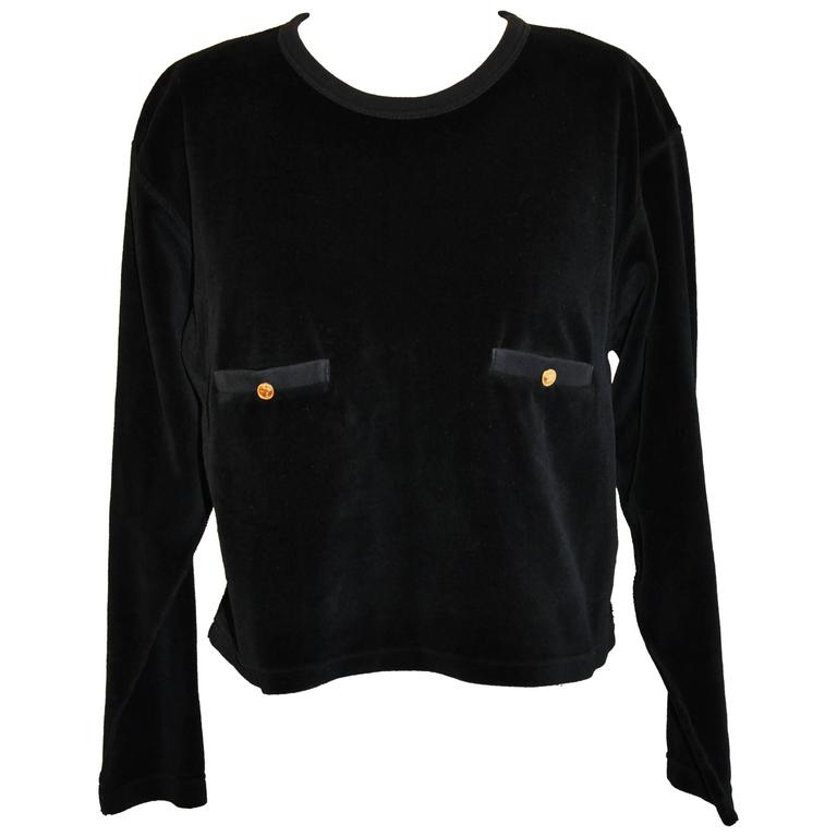 Sonis Rykiel Black Cotton Cropped Pullover Top