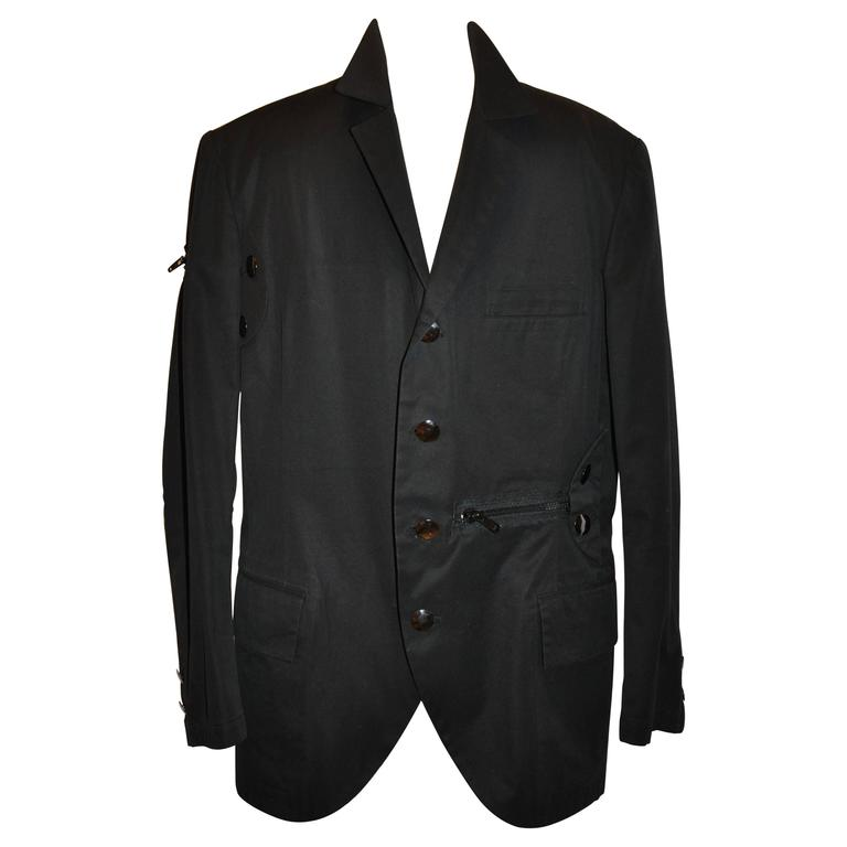 "Yohji Yamamoto Pour Homme Black Deconstructed ""Multi Zippers"" Jacket For Sale"