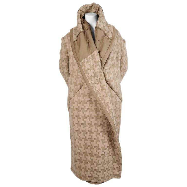 Comme Des Garcons houndstooth wool draped runway coat, 2009  For Sale