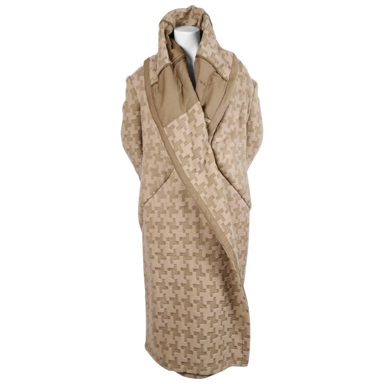 2009 COMME DES GARCONS houndstooth wool draped runway coat - unworn For Sale