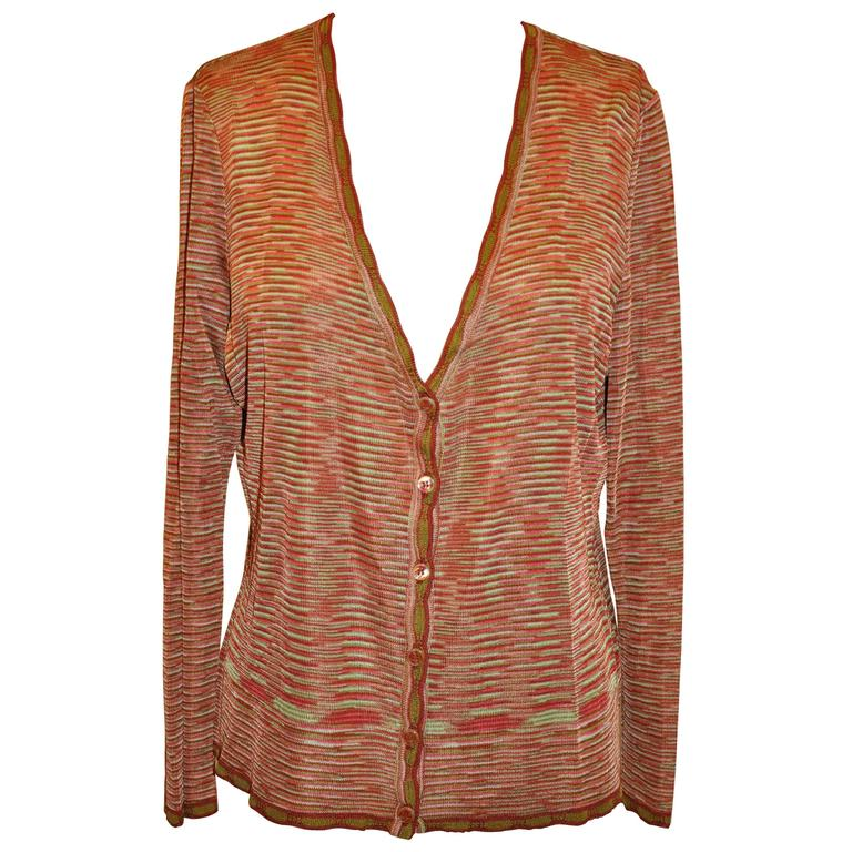 Missoni Multi-Striped 6 Button Jersey Cardigan