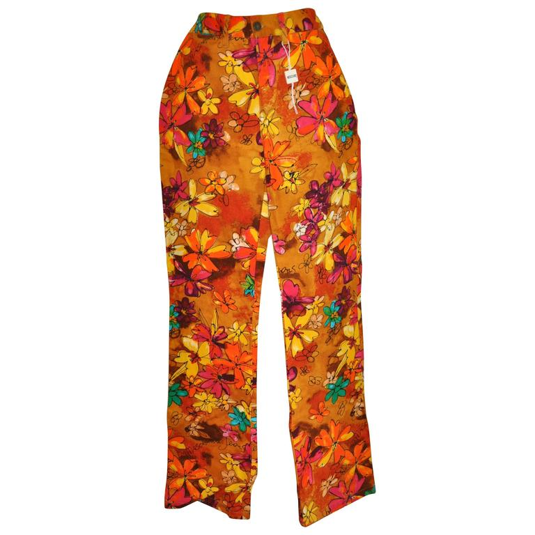 Moschino Bold Multi-Color Floral Flat-Front Brushed Cotton Jeans