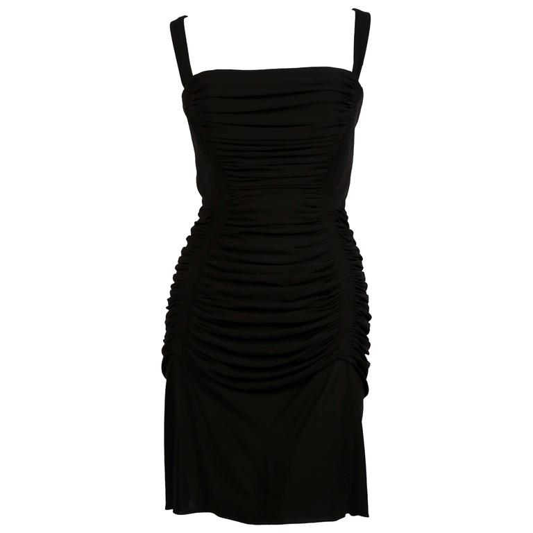 AZZEDINE ALAIA jet black ruched dress with open back