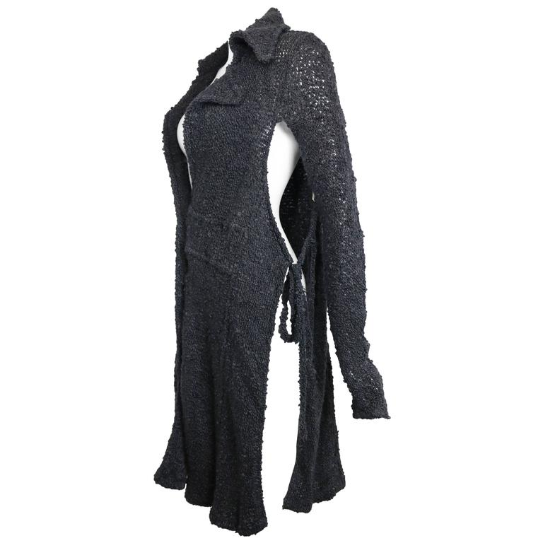 Costume National Grey Cashmere Long Knitted Cardigan with Both Sides Split Cut For Sale