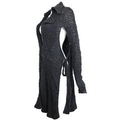 Costume National Grey Cashmere Long Knitted Cardigan with Both Sides Split Cut