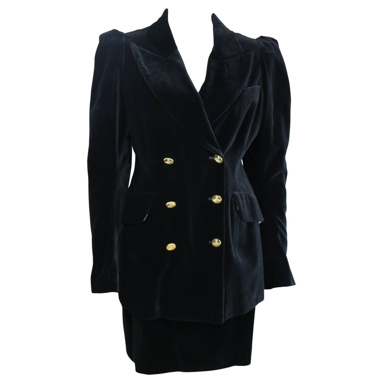 90s Vivienne Westwood Black Velvet Double Breasted Jacket and Skirt Ensembles  For Sale