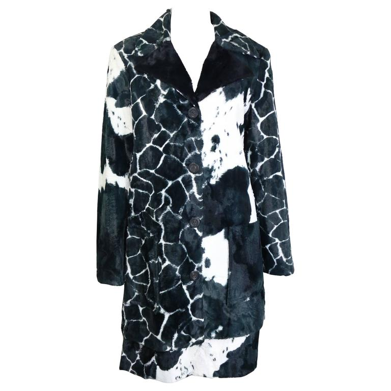 Kenzo Black and White Cow Print Faux Fur Jacket and Skirt Ensemble