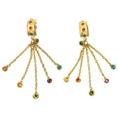 Vintage 80s Gold Toned Setting Multi Colour Rhinestones Dangle Clip On Earrings