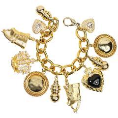 Vintage 80s Gold Chain Charms Bracelet