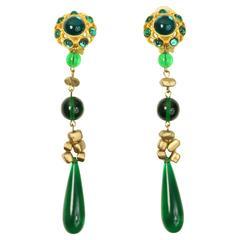 Les Bernard Gold Toned Setting Green Cabochon Stones Dangle Clip On Earrings
