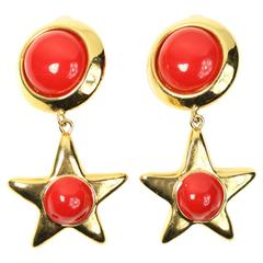 Escada Gold Toned Hardware Red Round and Star Shaped Drop Clip On Earrings