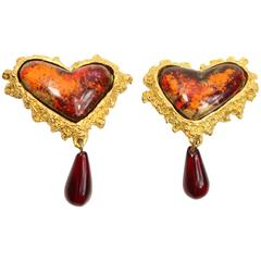 Christian Lacroix Red/Orange Resin Inlaid Heart Shaped Clip-On Earrings