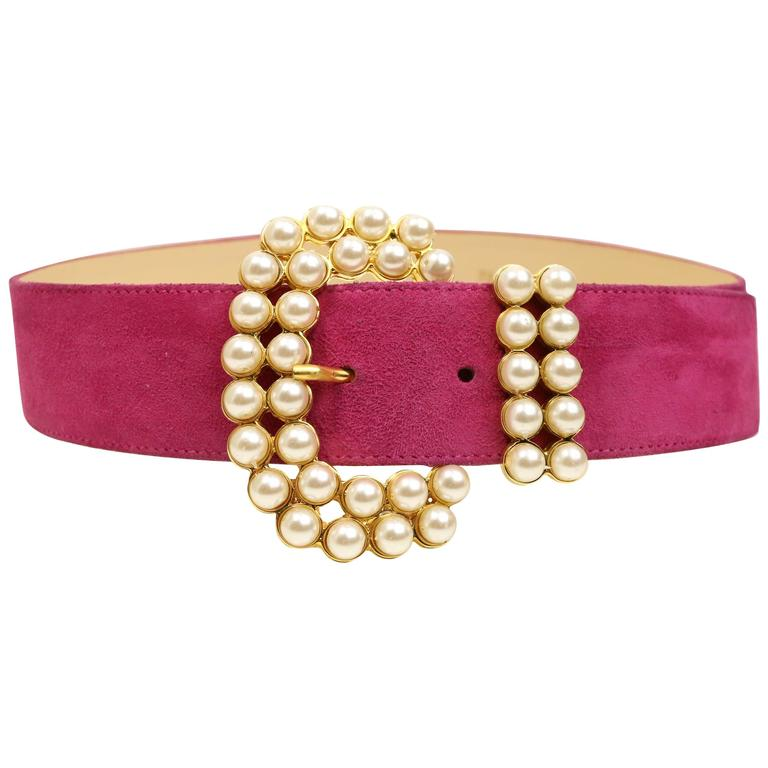Vintage 80s Faux Pearl Gold Toned Hardware Pink Suede Belt For Sale
