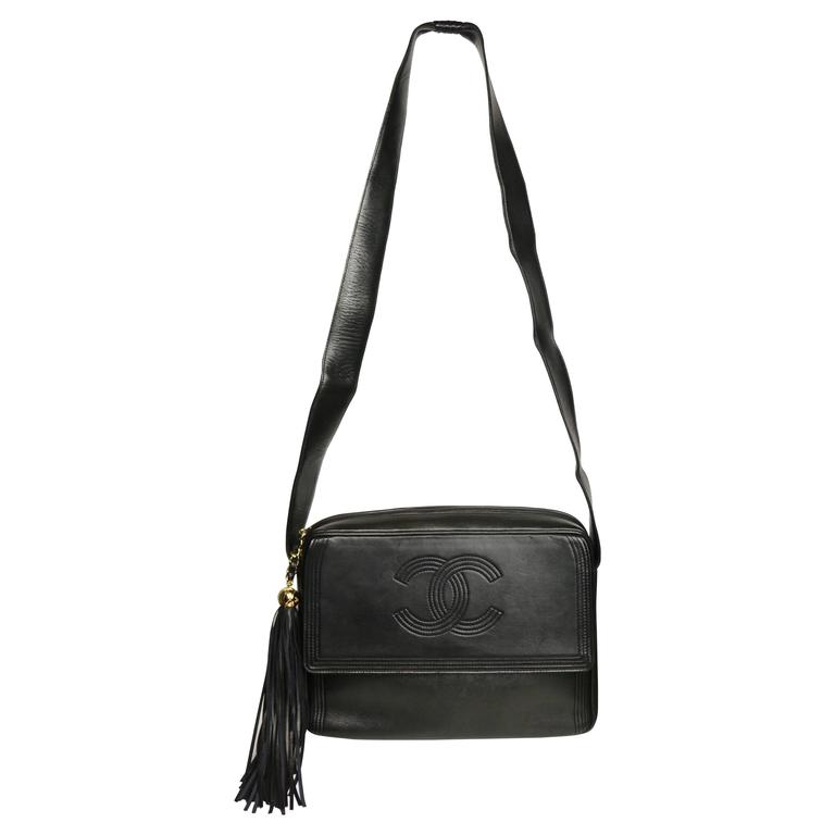 Chanel Black Leather Flap Bag with Tassel