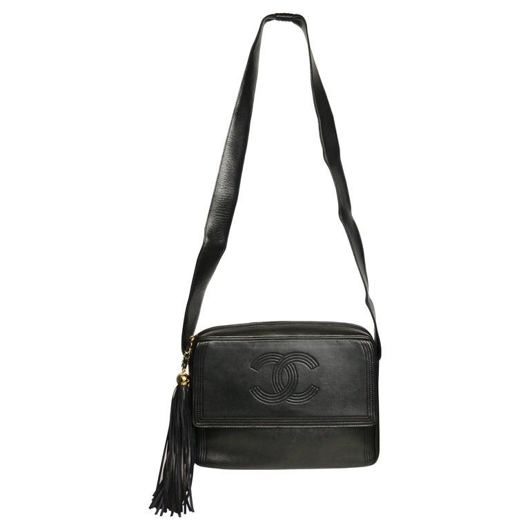 Vintage Chanel Black Leather Flap Bag with Tassel For Sale