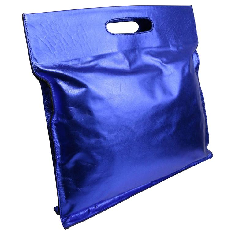Costume National Blue Metallic Leather Handle Tote Bag w37qi