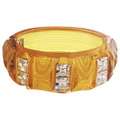 Art Deco Applejuice bakelite clamper hinged bracelet set with rhinestones