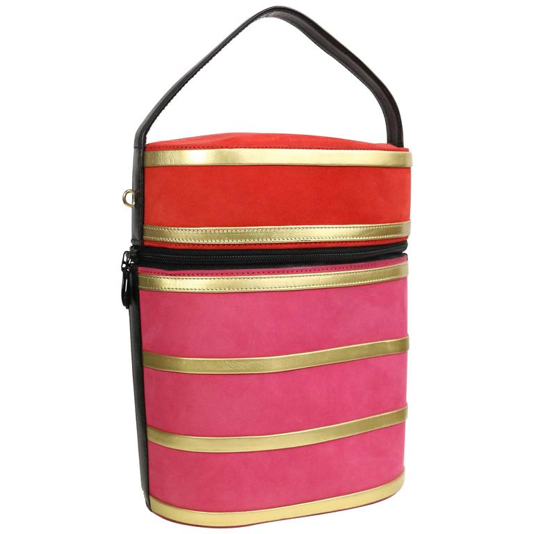 Charles Jourdan Red and Pink Suede Gold Leather Stripes Round Handbag with  Strap For Sale