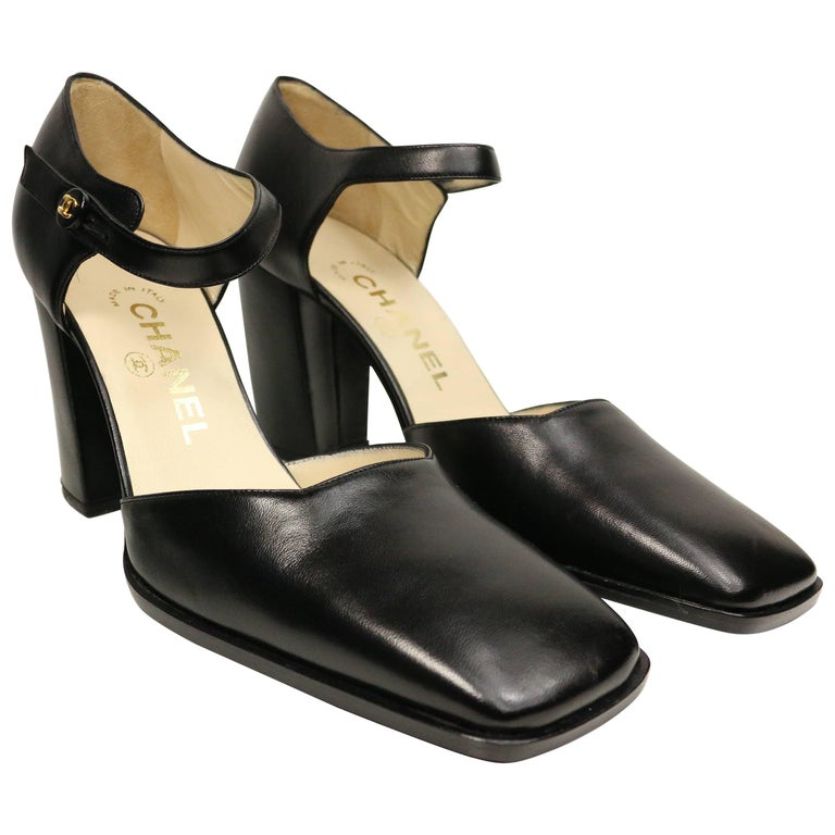 Chanel Classic Black Leather Square Toe Heels For Sale