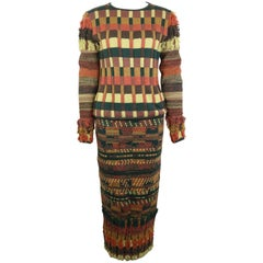 Christian Lacroix Colour Blocked Knitted Sweater and Skirt Ensemble