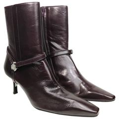 Chanel Burgundy Leather Ankle Boots