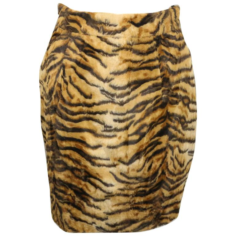Gemma Kahng Leopard Faux Fur Skirt  For Sale