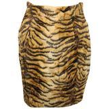 Gemma Kahng Leopard Faux Fur Skirt