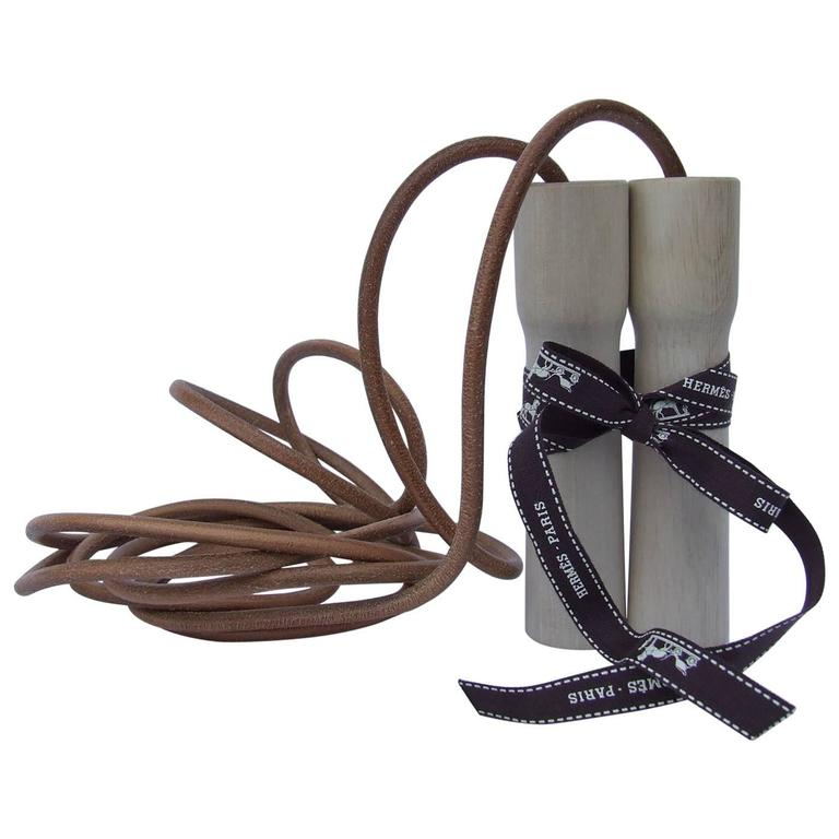 Rare Hermes Jumping Rope In Leather and Wood Limited Edition Never Used