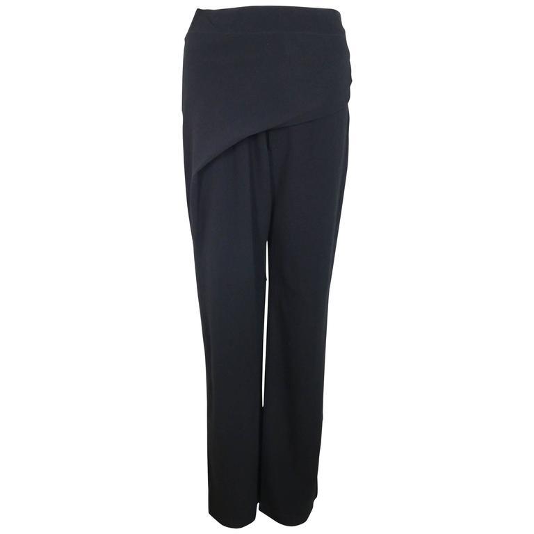 Issey Miyake Black Wool Straight Wide Leg Pants