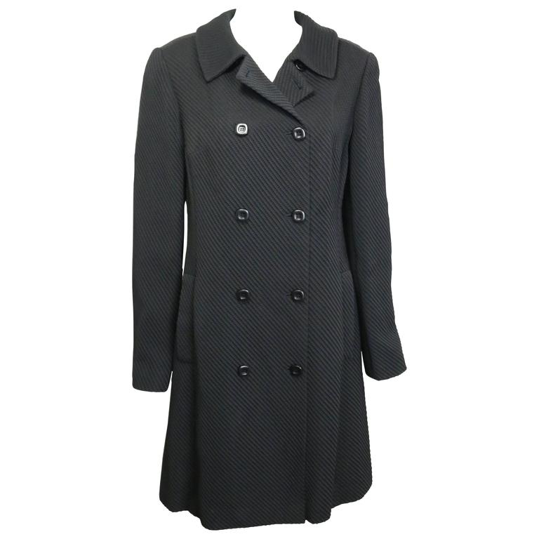 Sui by Anna Sui Black Stripe Double Breasted Coat