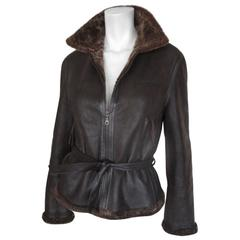 soft brown belted shearling fur jacket