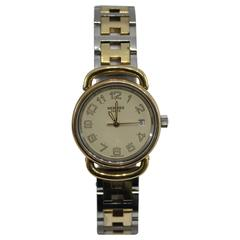 Vintage ladies Hermes Pullman Watch in golden stainless steel