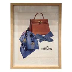 60-70's Old Framed Hermes Kelly French Advertising.