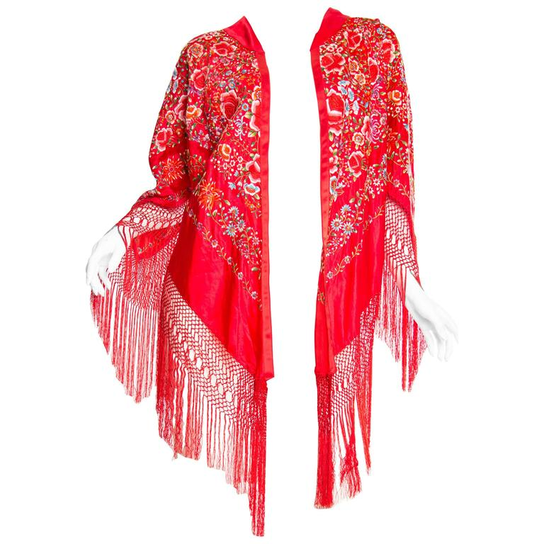 Hand Embroidered Chinese Red Fringed Kimono Jacket