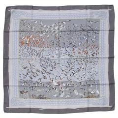 Hermes Silk Scarf Libres Comme L Air Faivre Grey Brown 90 cm