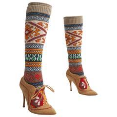 Alexander McQueen knitted sock boot, circa 2005